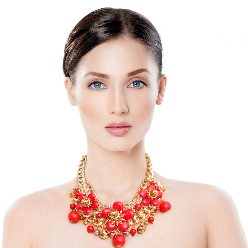 Chunky Gold Coral Flower Set