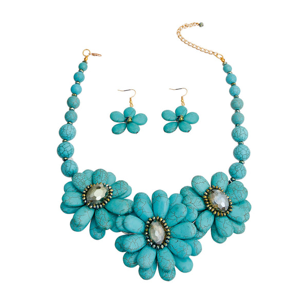 Turquoise Cracked Flower Beaded Necklace (Blue with Gold Plating)