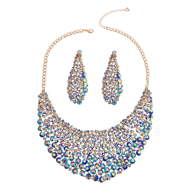 Brilliant Blue Round Cut Crystal Necklace (Blue with Gold Plating)