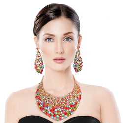 Brilliant Multi Color Round Cut Crystal Necklace