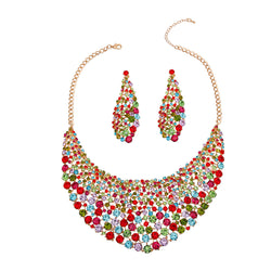 Brilliant Multi Color Round Cut Crystal Necklace (Multi Color with Gold Plating)