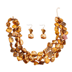 Brown Natural Stone Bead Necklace (Brown with Gold Plating)