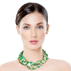 Green Natural Stone Bead Necklace