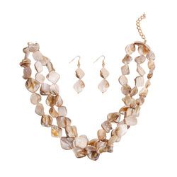 Natural Stone Bead Necklace (Natural with Gold Plating)