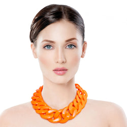 Bright Orange Link Necklace Set