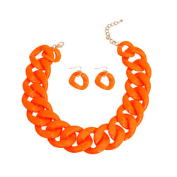 Bright Orange Link Necklace Set (Orange with Gold Plating)