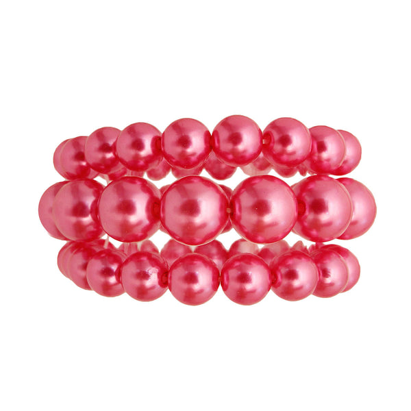 Hot Pink Pearl 3 Pcs Bracelets (Pink with Pearl Plating)