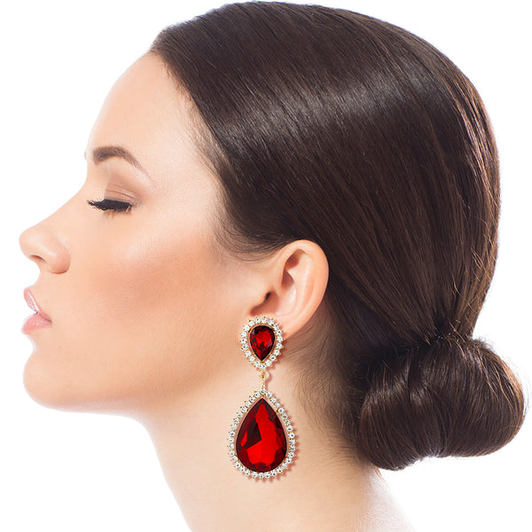 Red Teardrop Halo Clip Ons