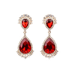 Red Crystal Crown Clip Ons (Red with Gold Plating)