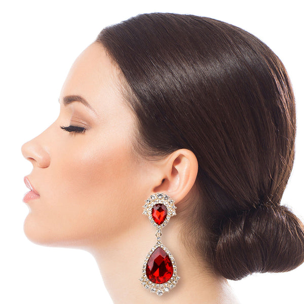 Red Crystal Crown Clip Ons