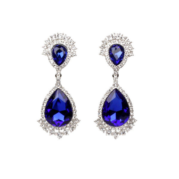 Royal Blue Crystal Crown Clip Ons (Blue with Rhodium Plating)