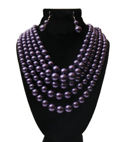 Dark Purple Multi Strand Pearl Necklace Set