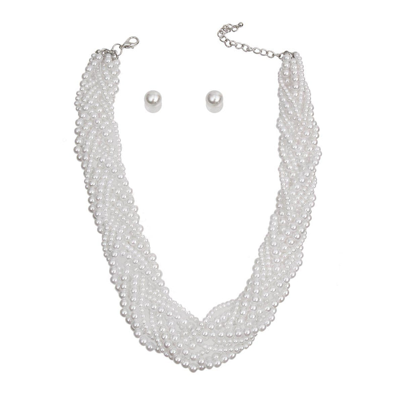 White Pearl Braided Necklace Set (White with Rhodium Plating)