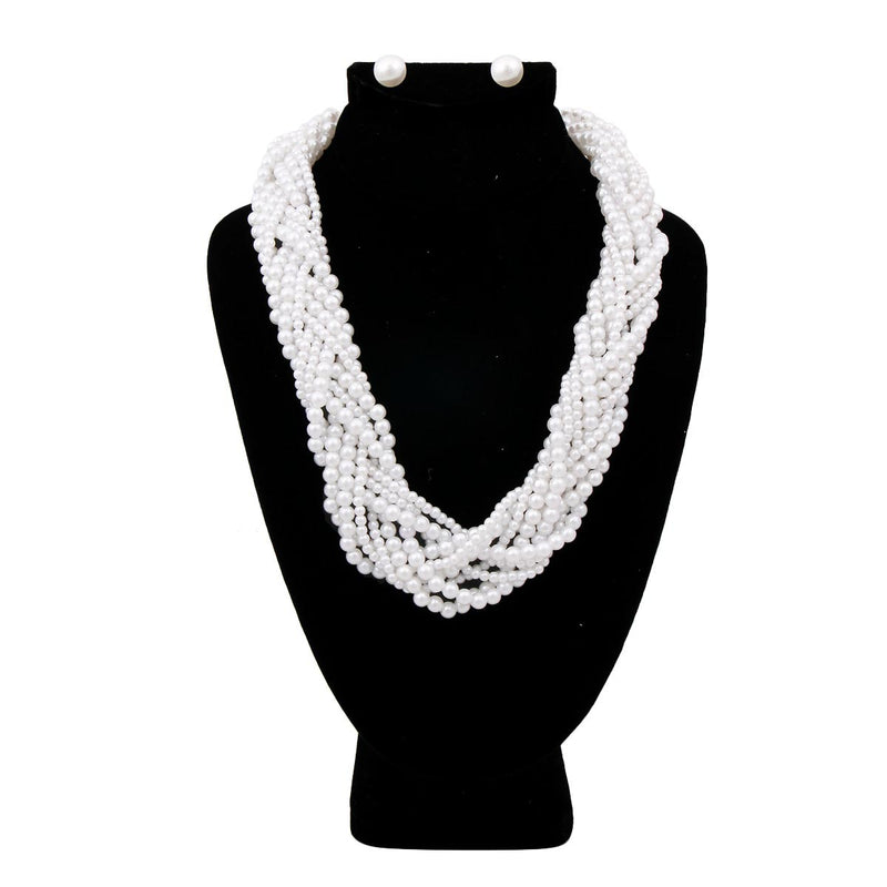 White Pearl Braided Necklace Set