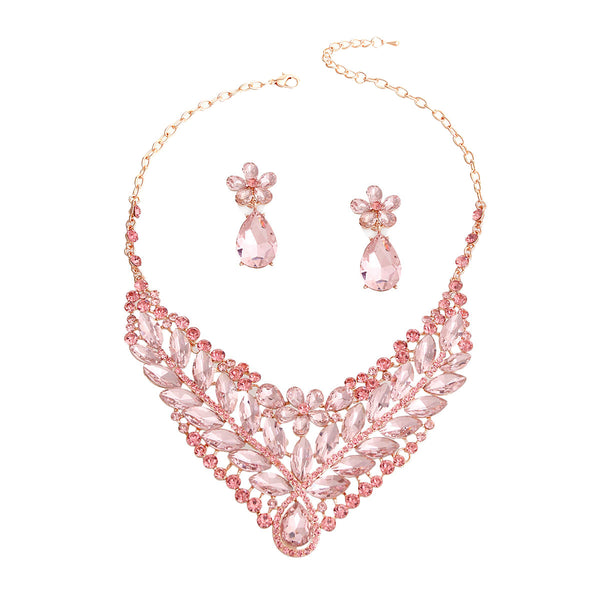 Pink and Rose Gold Crystal Bib Necklace (Pink with Rose Gold Plating)