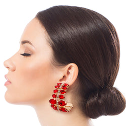 Brilliant Ruby Red Teardrop Hoops