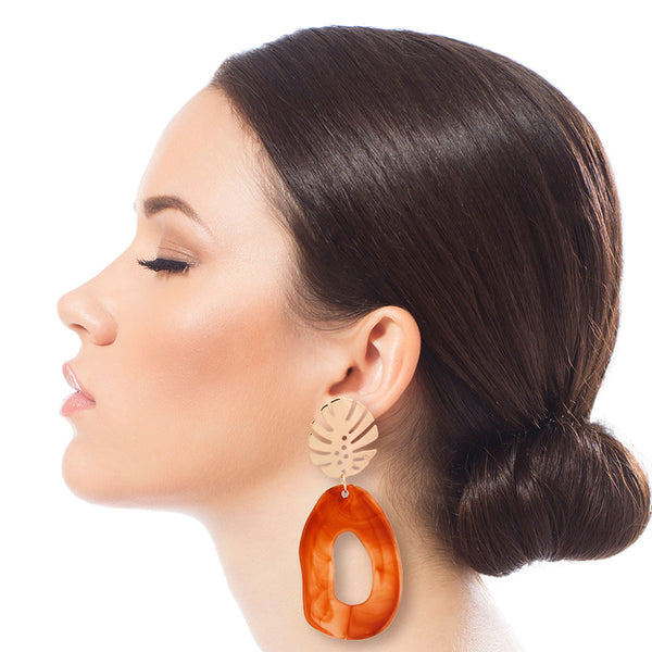 Palm Leaf Brown Drop Earrings