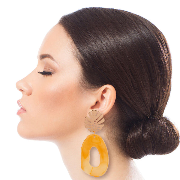 Palm Leaf Mustard Drop Earrings