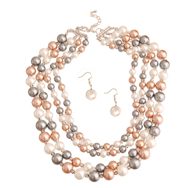 3 Color Pearl Collar Necklace (Multi Color with Rhodium Plating)