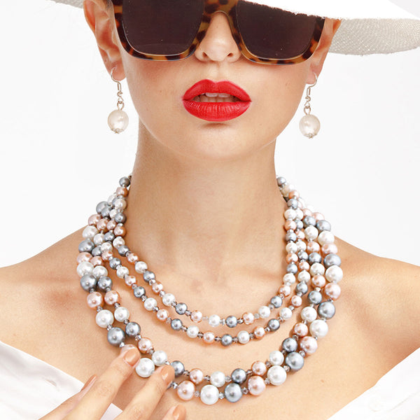 3 Color Pearl Collar Necklace