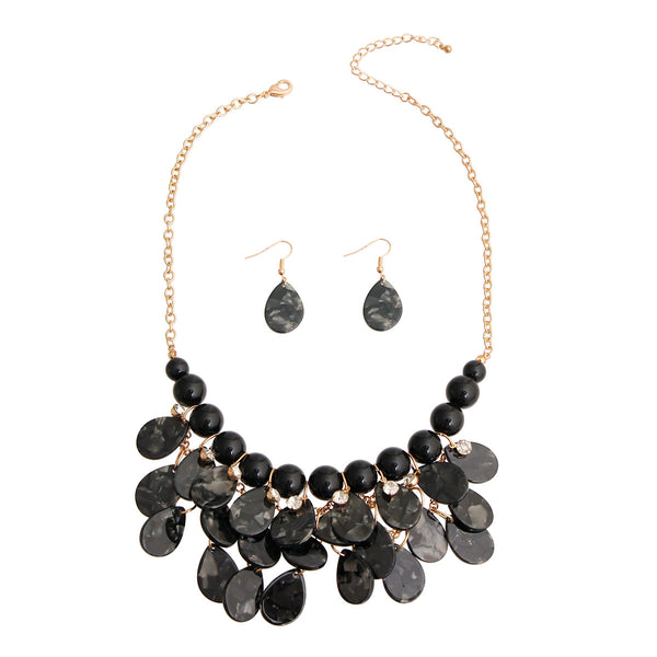 Black Bead Teardrop Bib Necklace (Black with Gold Plating)