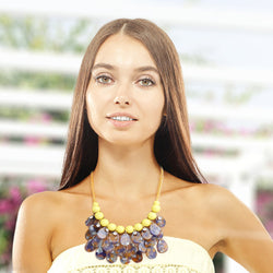 Yellow Bead Teardrop Bib Necklace