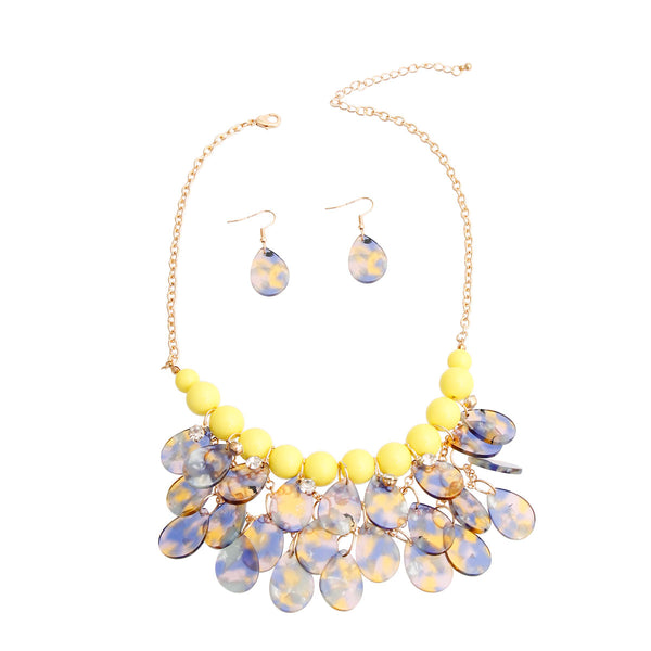 Yellow Bead Teardrop Bib Necklace (Yellow with Gold Plating)