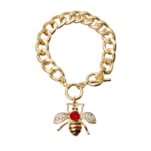 Rhinestone Bee Toggle Bracelet (Multi Color with Gold Plating)