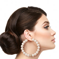 Pearl and Pave Rhinestone Hoops