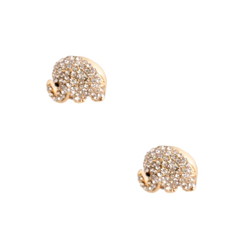Gold Rhinestone Elephant Studs (Clear with Gold Plating)