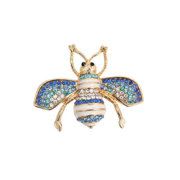 Blue Rhinestone Bee Brooch