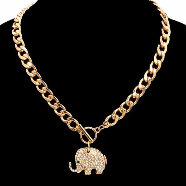 Gold Rhinestone Elephant Toggle (Clear with Gold Plating)