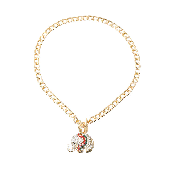 Rhinestone Elephant Toggle Necklace