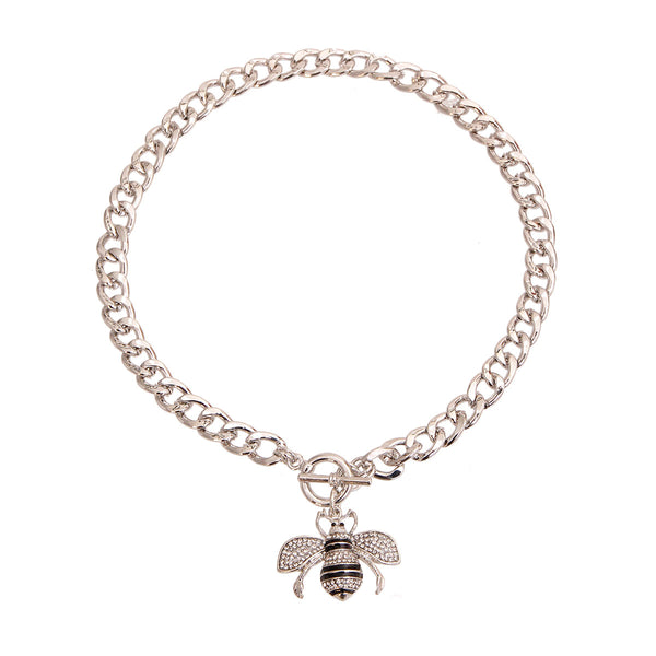 Silver Bee Charm Toggle Necklace (Clear with Rhodium Plating)