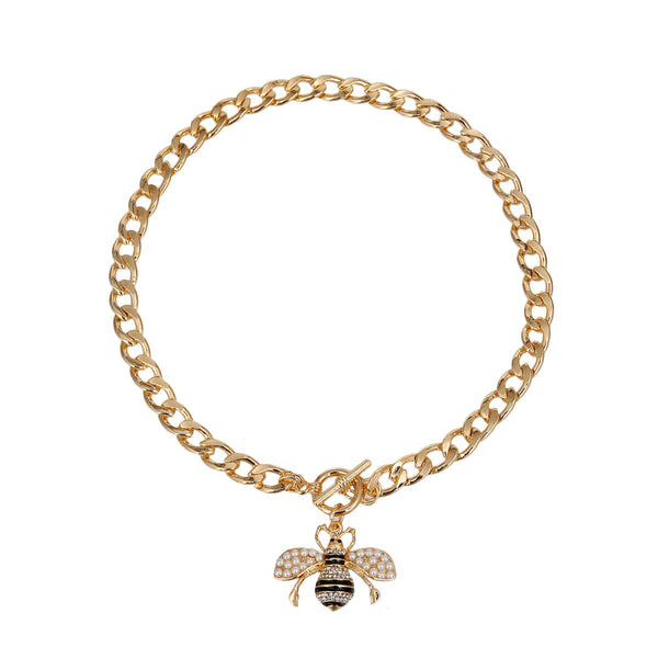 Cream Pearl Bee Toggle Necklace (Cream with Gold Plating)