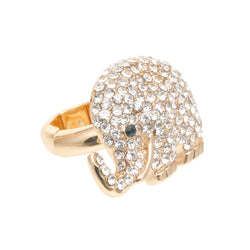 Gold Rhinestone Elephant Ring (Clear with Gold Plating)