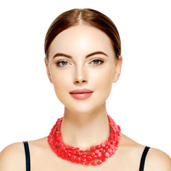 Red Flat Bead Necklace Set