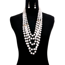 Ombre White Bead Multi Strand Layered Necklace Set