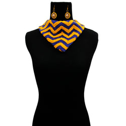 Handmade Embroidered Scarf Necklace Set with Chevron Pattern Yellow and Blue Beads