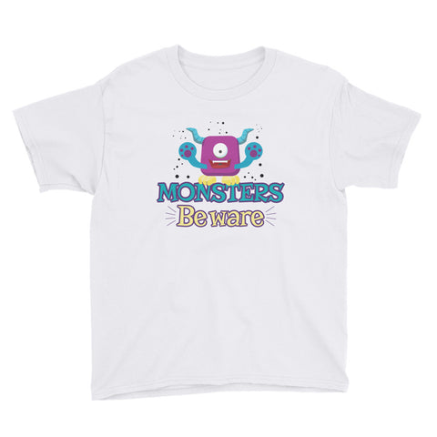Monsters Beware Youth Short Sleeve T-Shirt - Code Pineapple