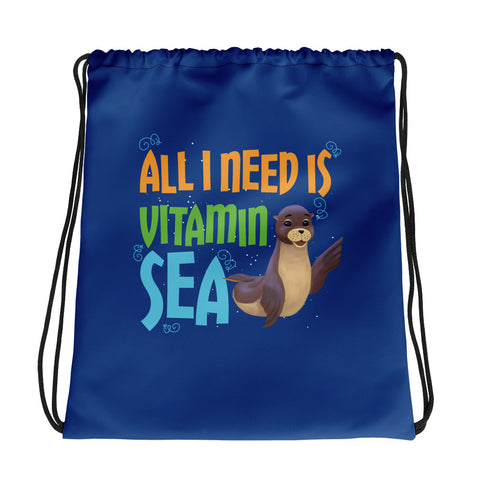 All I Need Is Vitamin Sea Drawstring bag - Code Pineapple