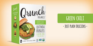 Qrunch Burger Green Chile, 4 Pack, Case of 6