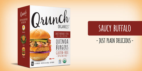Qrunch Saucy Buffalo Burgers, 4 Pack, Case of 6