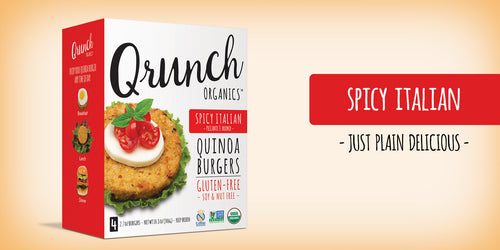 Qrunch Burger Spicy Italian, 4 Pack, Case of 6