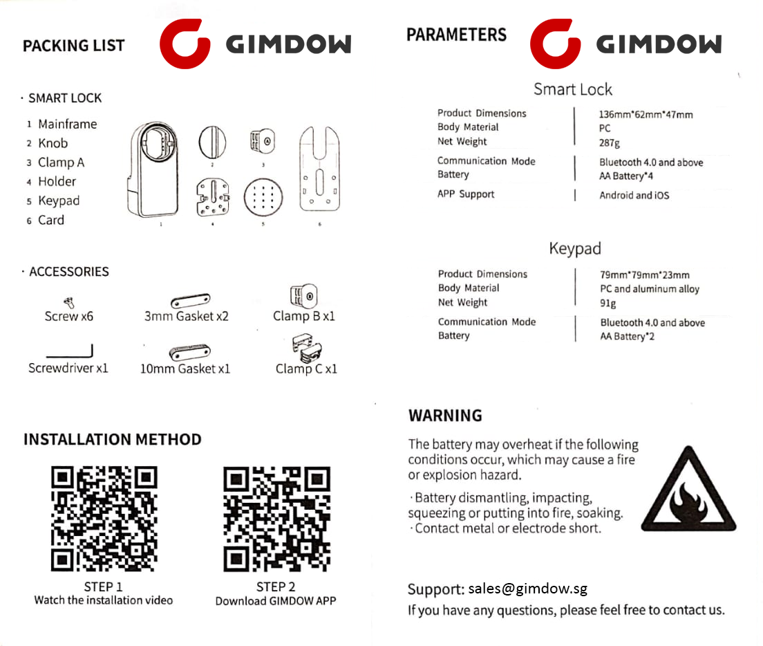 digital smart lock gimdow singapore gimdowsg technical specifications