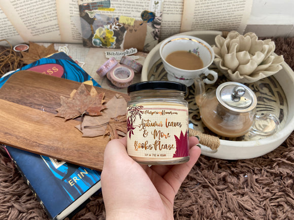 Autumn Leaves and More Books Please - 7oz Jars and 4oz tins