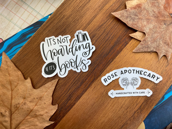 Hoarding and Rose Apothecary Decals - Clear or White waterproof vinyl