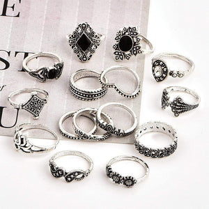 15 Pcs/set Bohemian Retro Crystal Ring Set - Jewelry and Accessories Trends