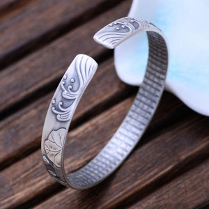 999 Sterling Silver Mantra Cuff Bracelet - Jewelry and Accessories Trends