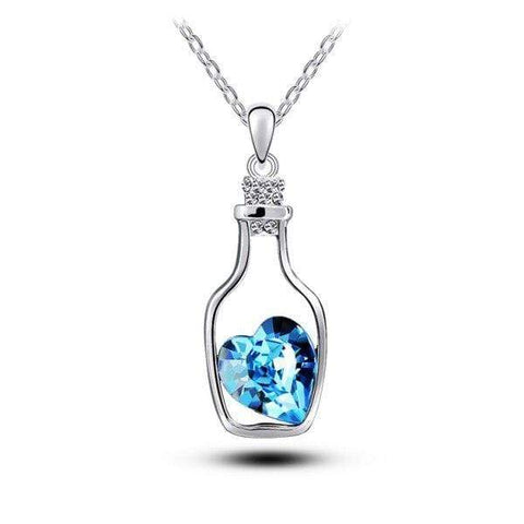 Bottle Crystal Heart Pendant Necklace - Jewelry and Accessories Trends